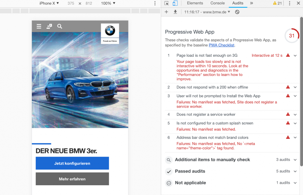 Screenshot der Progressive Web App von BMW