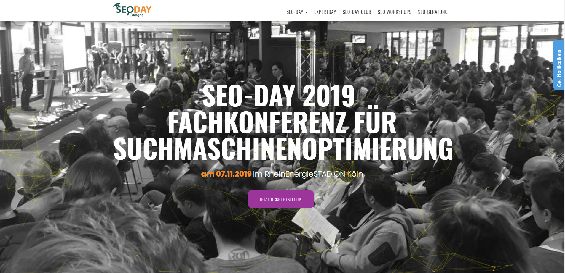 Screenshot der Startseite der SEO DAY Homepage
