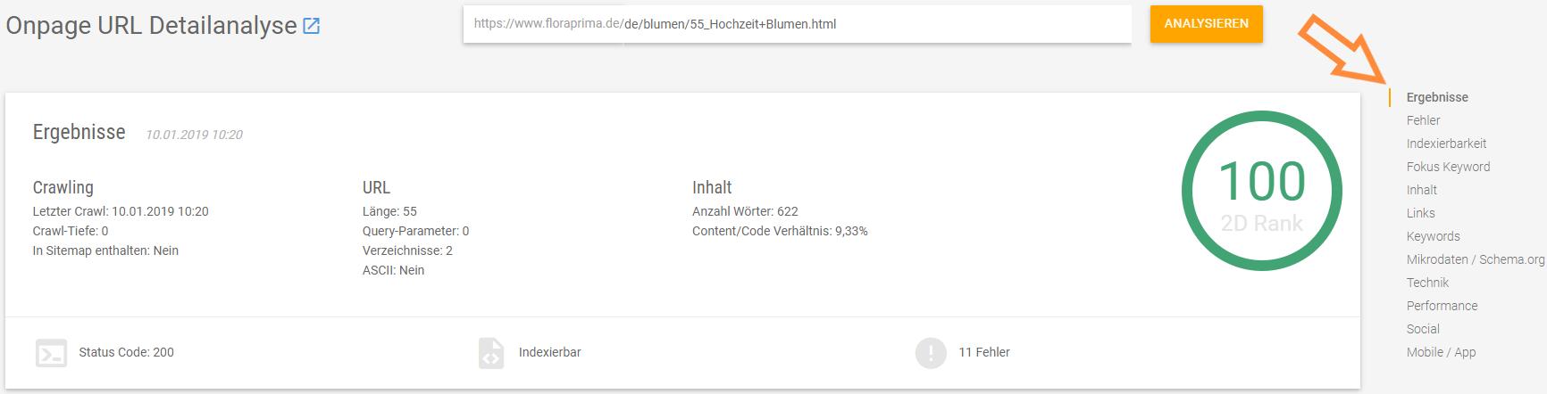 Screenshot XOVI Suite Onpage URL Detailanalyse