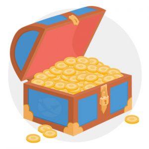 Schatztruhe mit Gold gefüllt