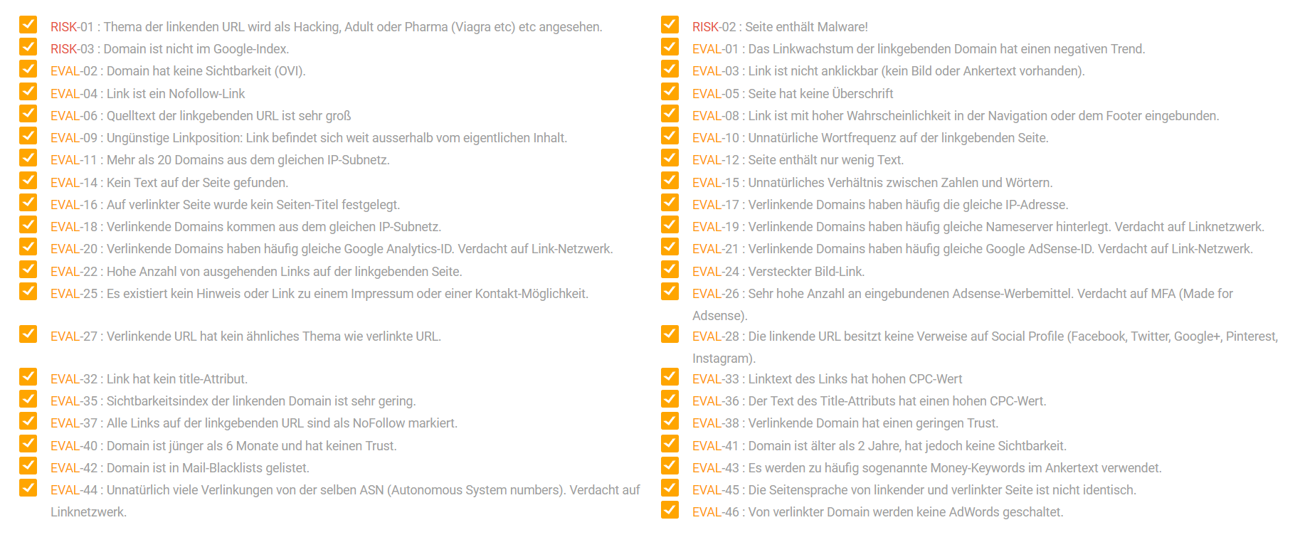 Screenshot der Analyse-Faktoren für Backlinks in der XOVI Suite