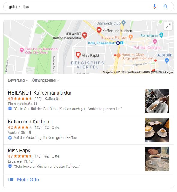 """Screenshot des Google 3-Packs (Google Maps mit Top 3 lokalen Ergebnissen) für das Keyword """"guter Kaffee"""""""