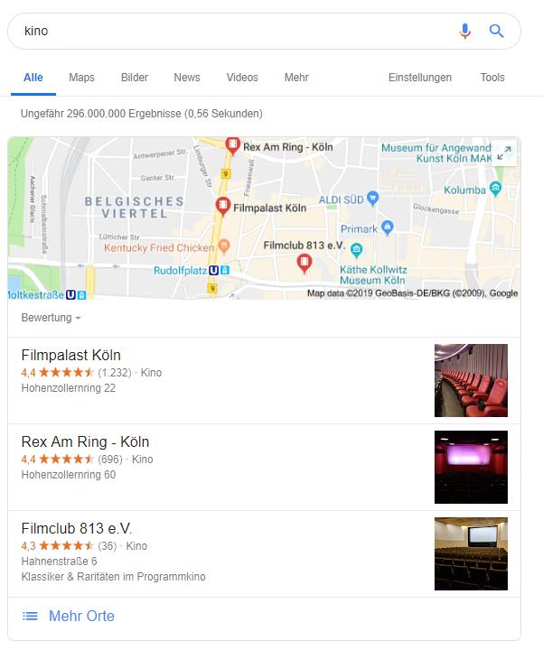 Screenshot der Map in den SERPs zum Keyword Kino