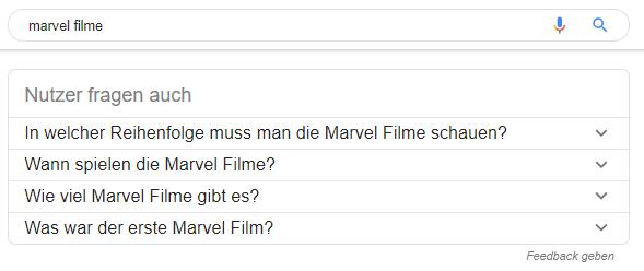 """Screenshot von """"Ähnliche Suchanfragen"""" in den SERPs zum Keyword Marvel Filme"""