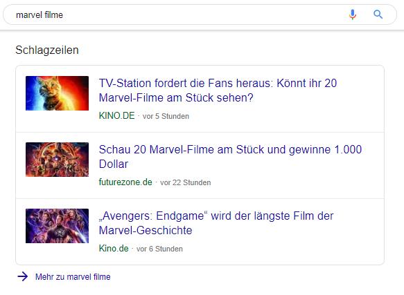 Screenshot der Schlagzeilen in den SERPs zum Keyword Marvel Filme