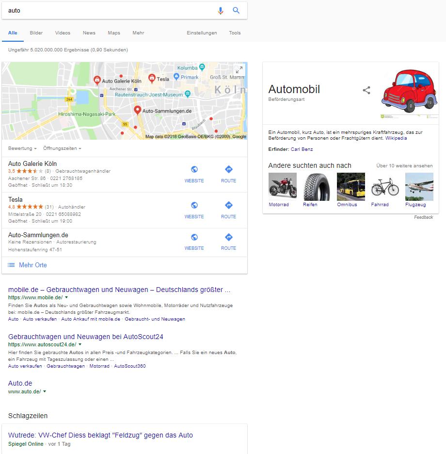 """Screenshot Suchergebnis zum Keyword """"Auto"""""""