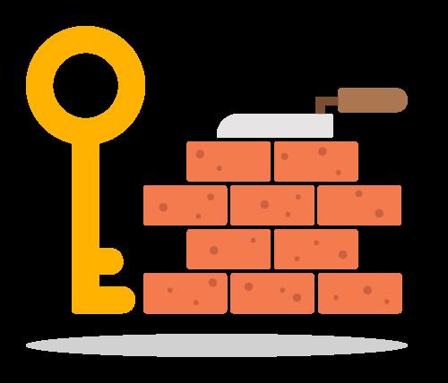 Schlüssel vor einer Mauer