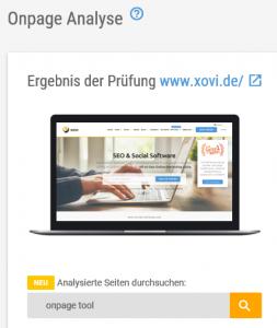 Content Relevanz Suche Suchschlitz mit Bespiel in der XOVI Suite