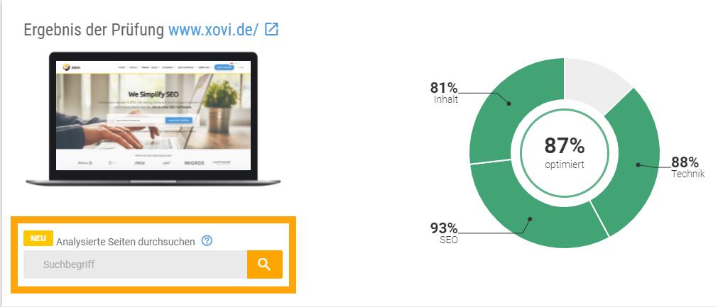 Screenshot der XOVI Onpage-Analyse