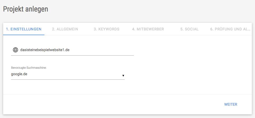 Screenshot der Eingabemaske für ein neues Projekt in der XOVI Suite