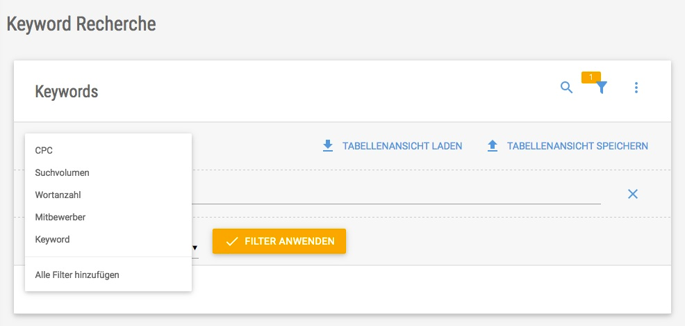 Screenshot der Filtermaske für die Keyword Recherche in der XOVI Suite