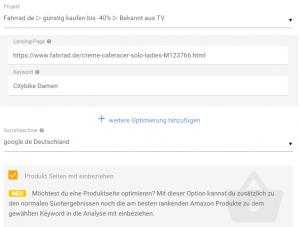 Optimizer Produkt Seiten mit einbeziehen in der XOVI Suite