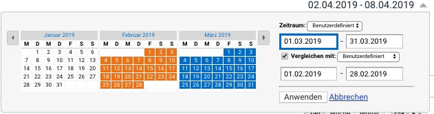 Google Analytics Eingabemaske für den Anzeige-Zeitraum der Daten