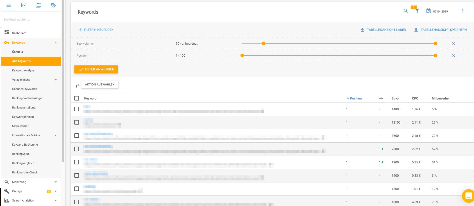 Übersicht der URLs mit Backlinks und ihrer Anzahl im Backlink Tool der XOVI Suite