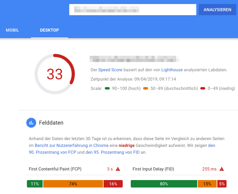 Ergebnisse der Page Speed Analyse für Desktop des Google Page Speed Tools