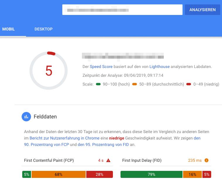 Ergebnisse der Page Speed Analyse für Mobile des Google Page Speed Tools