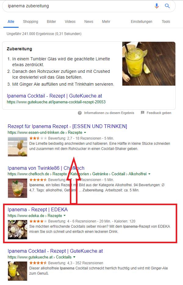 Screenshot SERP Ipanema Zubereitung Verbesserung Ranking durch Userverhalten