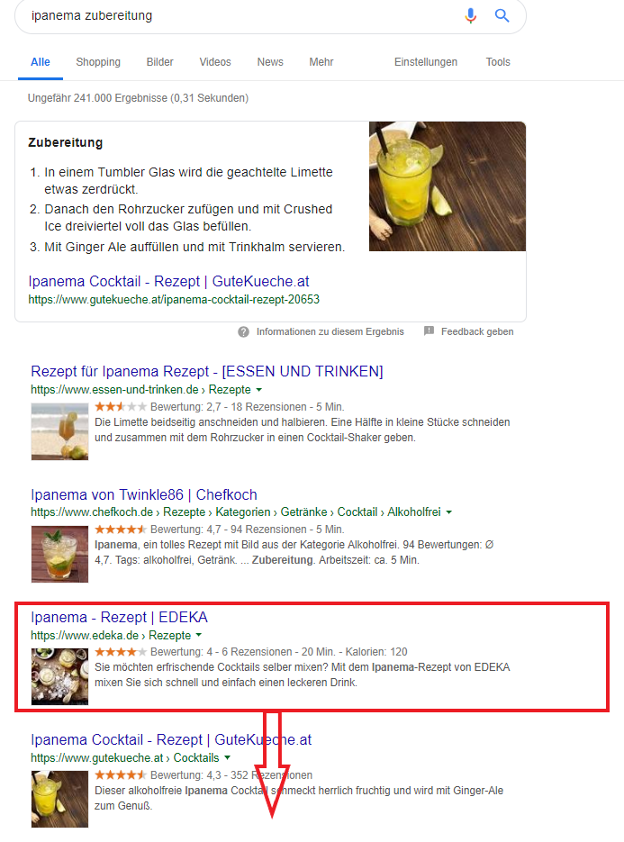 Screenshot SERP Ipanema Zubereitung Verschlechterung Ranking durch Userverhalten