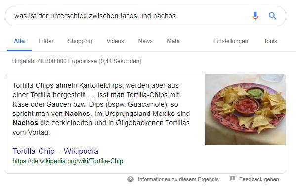 Screensot Featured Snippet Unterschied Tacos Nachos