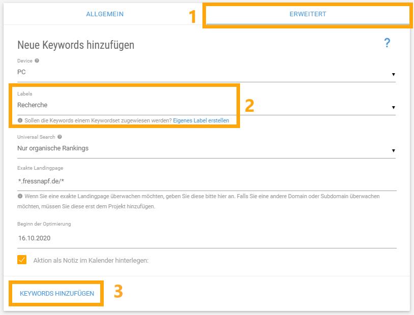 keyword Monitoring: Neue Keywords anlegen erweiterte Einstellungen