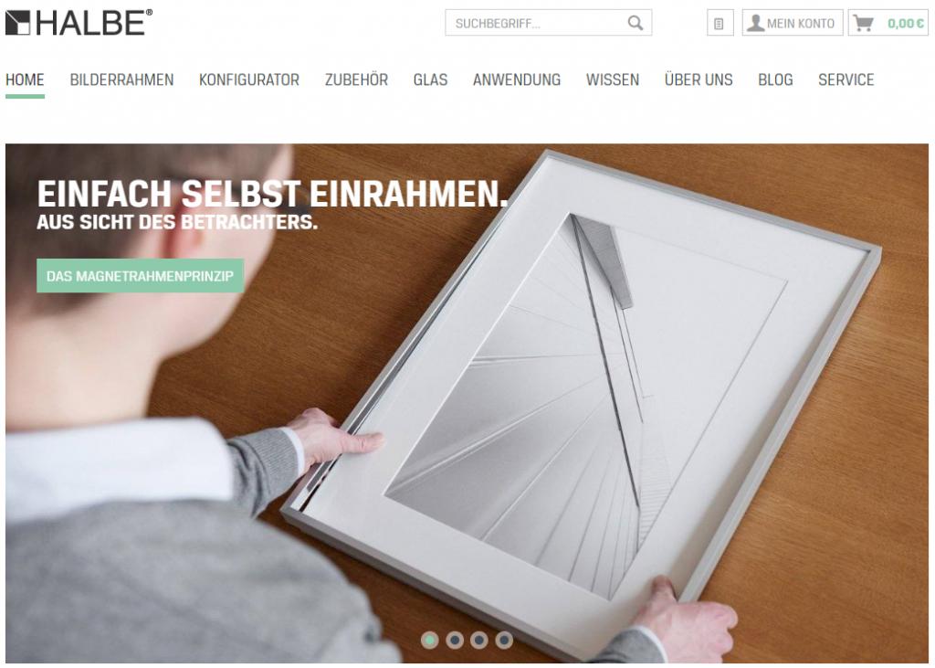 Screenshot Startseite HALBE Rahmen