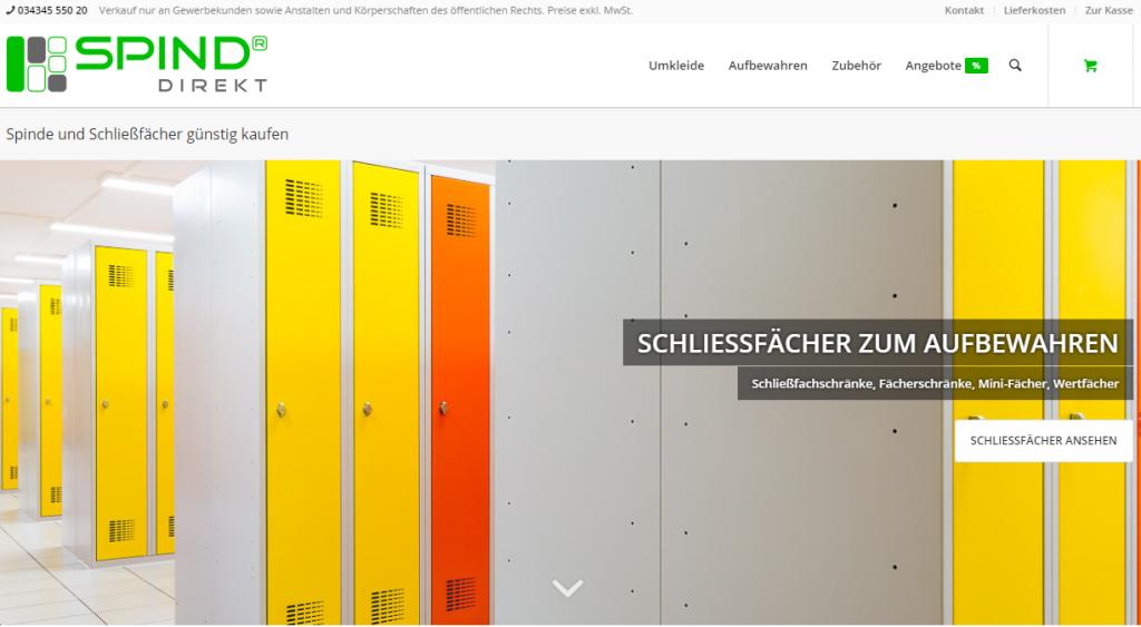 Screenshot der Startseite von spind-direkt de