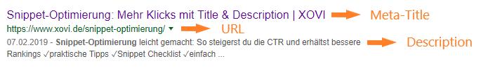 Screenshot eines SERP Snippets mit Beschriftung für Title, URL und Description