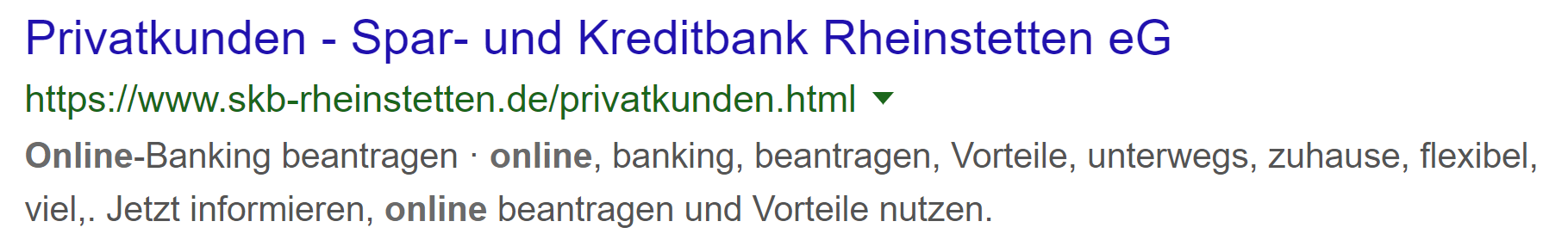"""Die Spar- und Kreditbank Rheinstetten verschenkt viel Potential auf die Suchanfrage """"Online Kredit"""" und das in einem der härtesten Märkte überhaupt – Kreditvermittlung."""