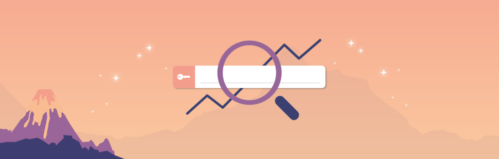 Suchmaske einer Suchmaschine mit Lupe und ansteigendem Graphen