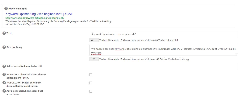 Screenshot der Metadaten im WordPress-Backend