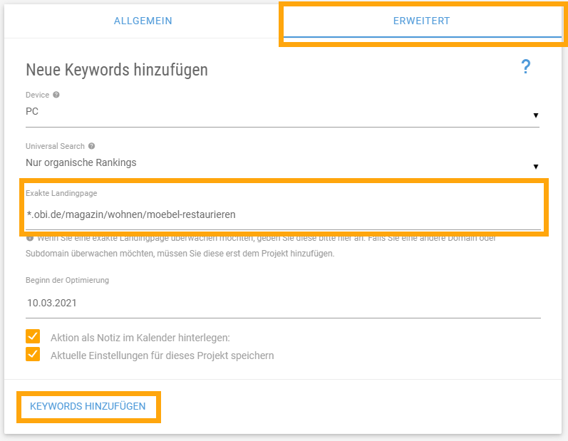 Exakte Landingpage im XOVI Keyword Monitoring hinterlegen