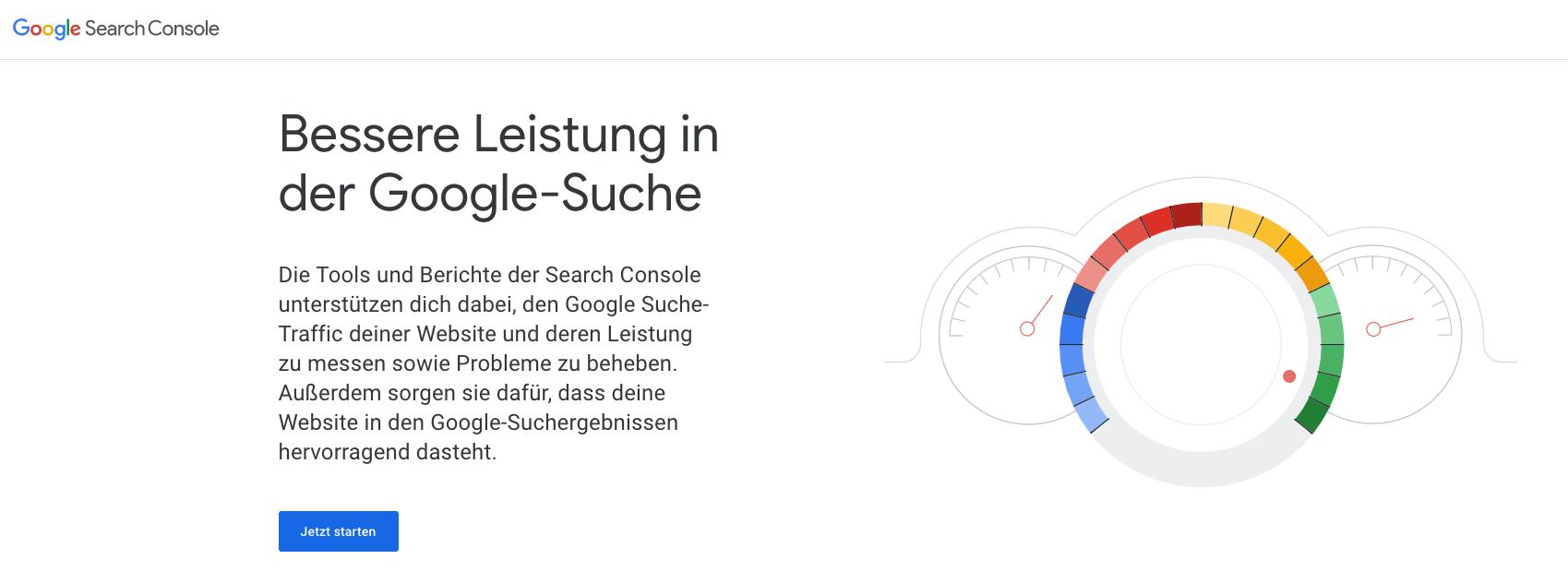 Starte das Setup der Google Search Console