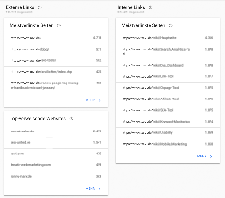Erhalte Daten zu Backlinks und interner Verlinkung