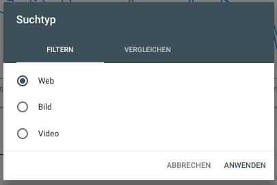 Filtere nach Suchtyp (Web, Bild, Video) für deine Ergebnisse in der Google Search Console