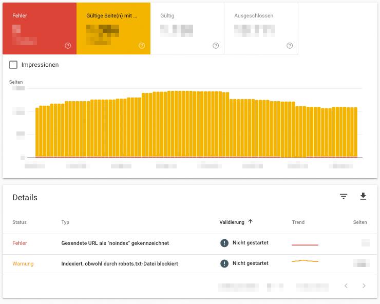 Die Google Search Console zeigt dir Fehler und Warnungen für deine Website