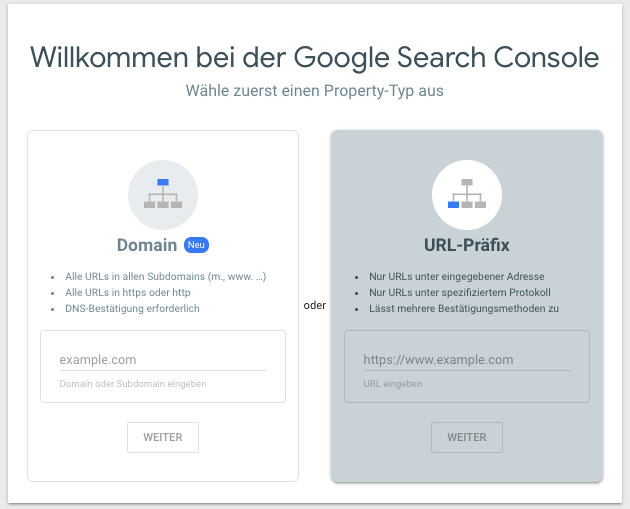 Screenshot der Property-Auswahl beim Setup der Google Search Console