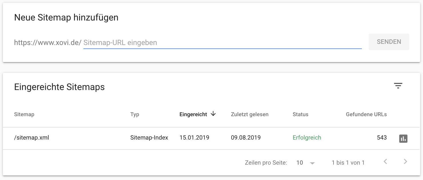 Reiche deine Sitemap per URL in der Google Search Console ein