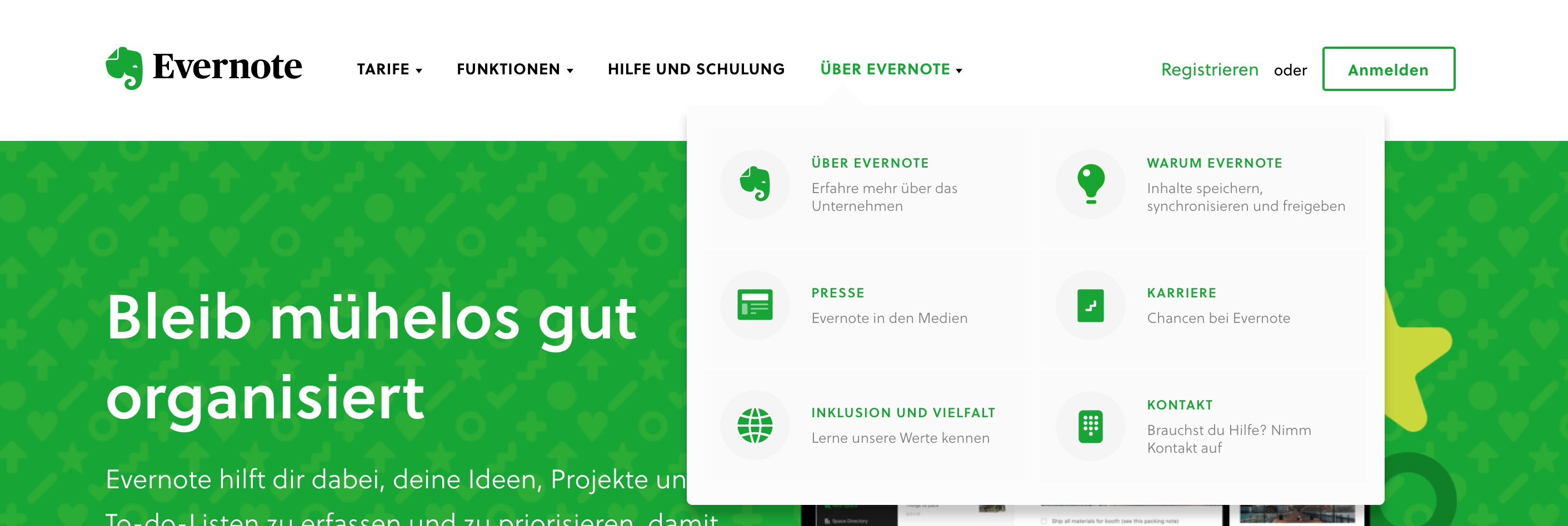 Vereinfachte Navigation durch Icons bei Evernote