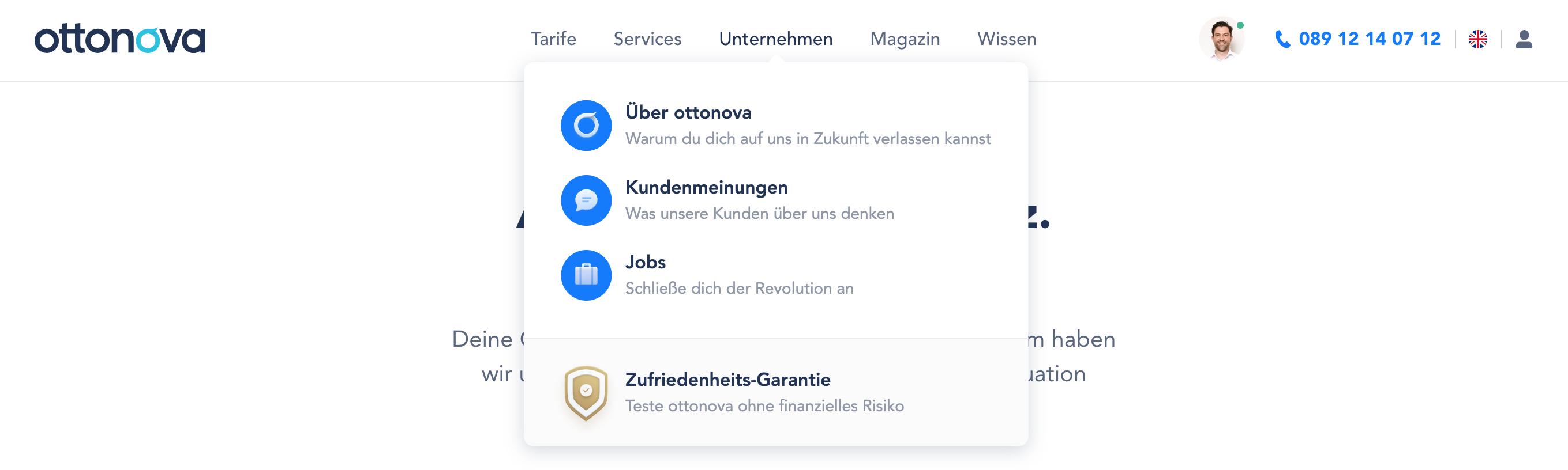 Vereinfachte Navigation durch Icons bei Ottonova