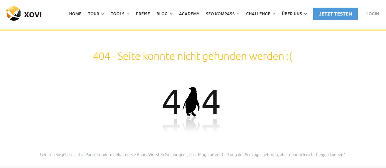 Screenshot einer 404 Seite bei xovi.de