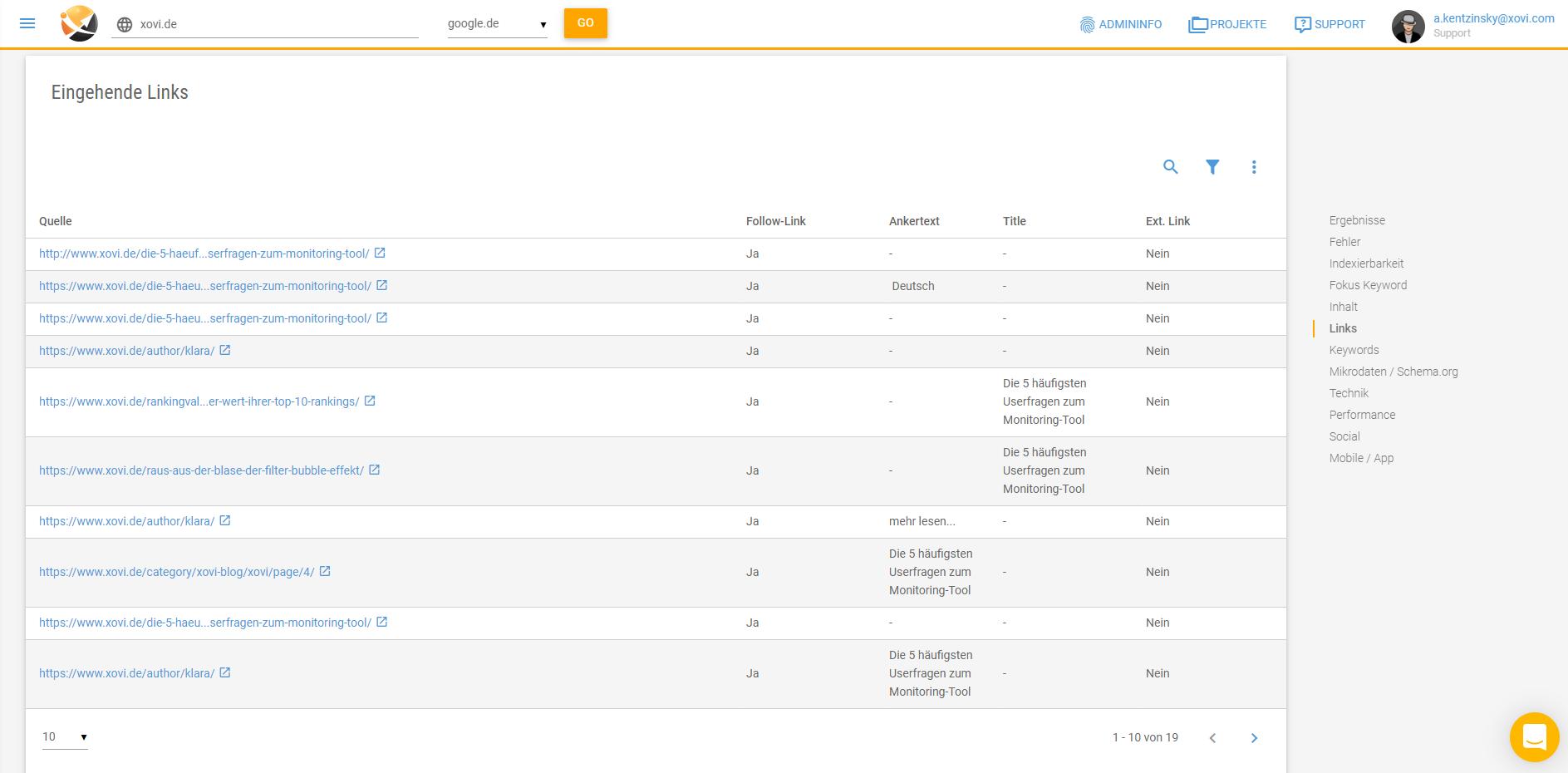 Screenshot der Liste der eingehenden Links in der XOVI Suite