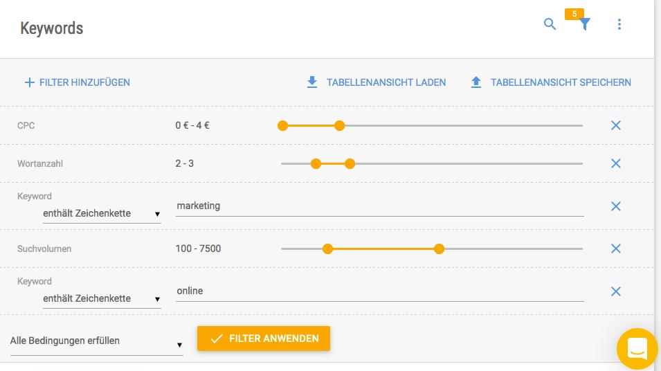 Screenshot des Keyword Tools mit filter-Möglichkeiten für die Keyword Recherche