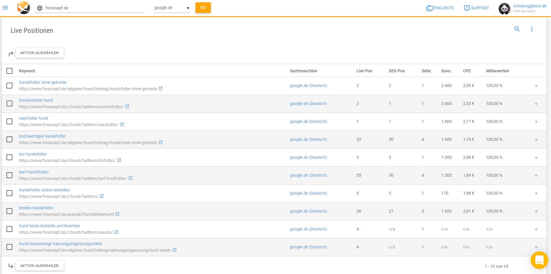 Frage Live-Rankings zu einem oder mehreren Keywords ab.