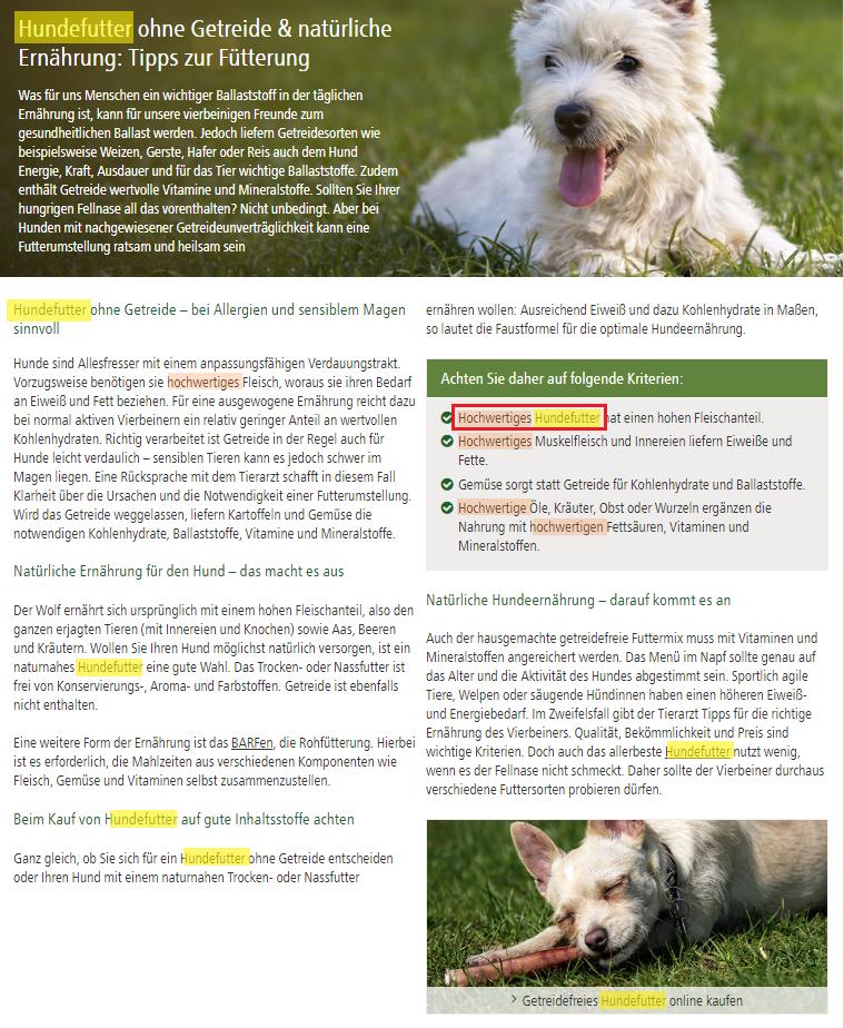 """Screenshot der Seite """"Hundefutter ohne Getreide"""" mit Keyword-Markierungen"""