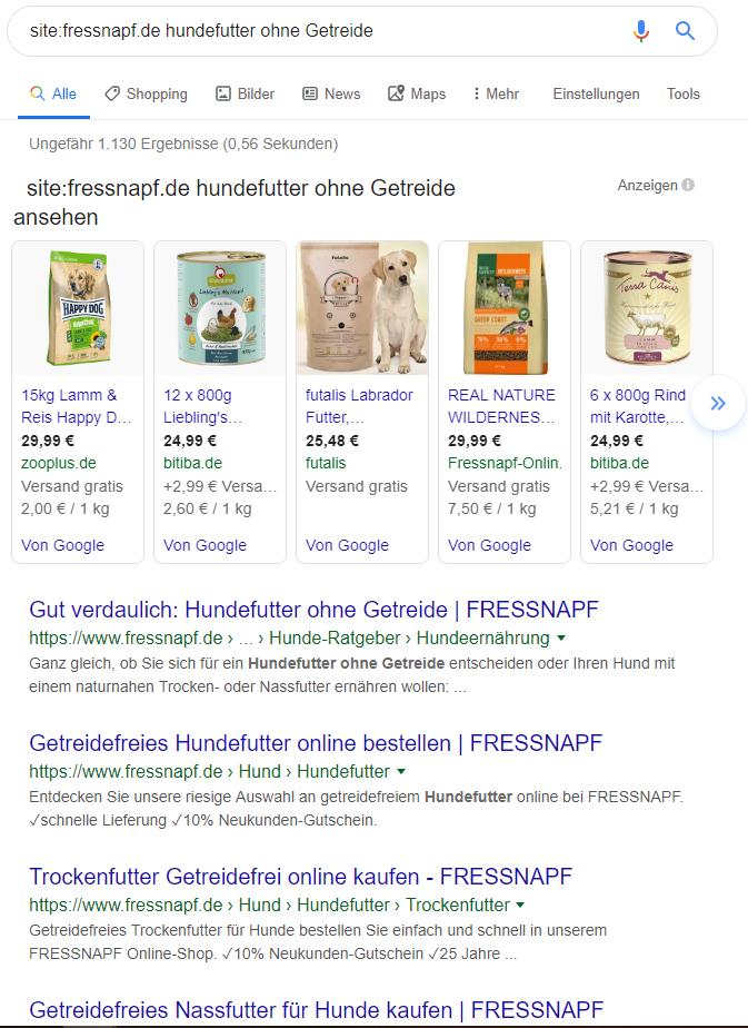 Der site: Modifier listet alle URLs einer Domain zu einem Keyword nach Relevanz sortiert.