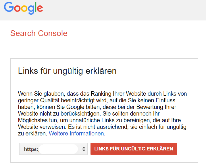 Screenshot des Disavow Bereichs der Google Search Console