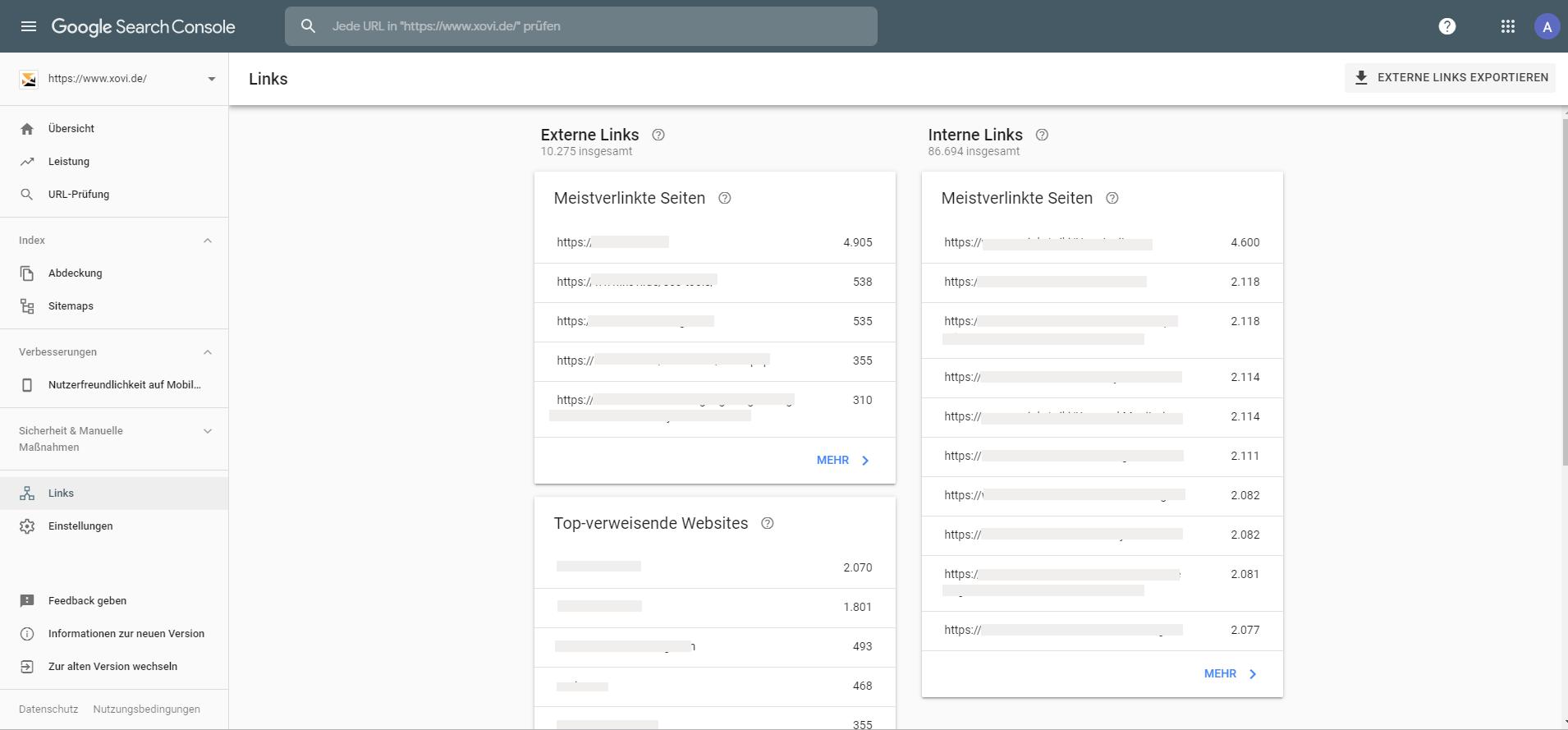 Die Google Search Console listet alle externen und internen Links sowie die Top-verweisenden Websites