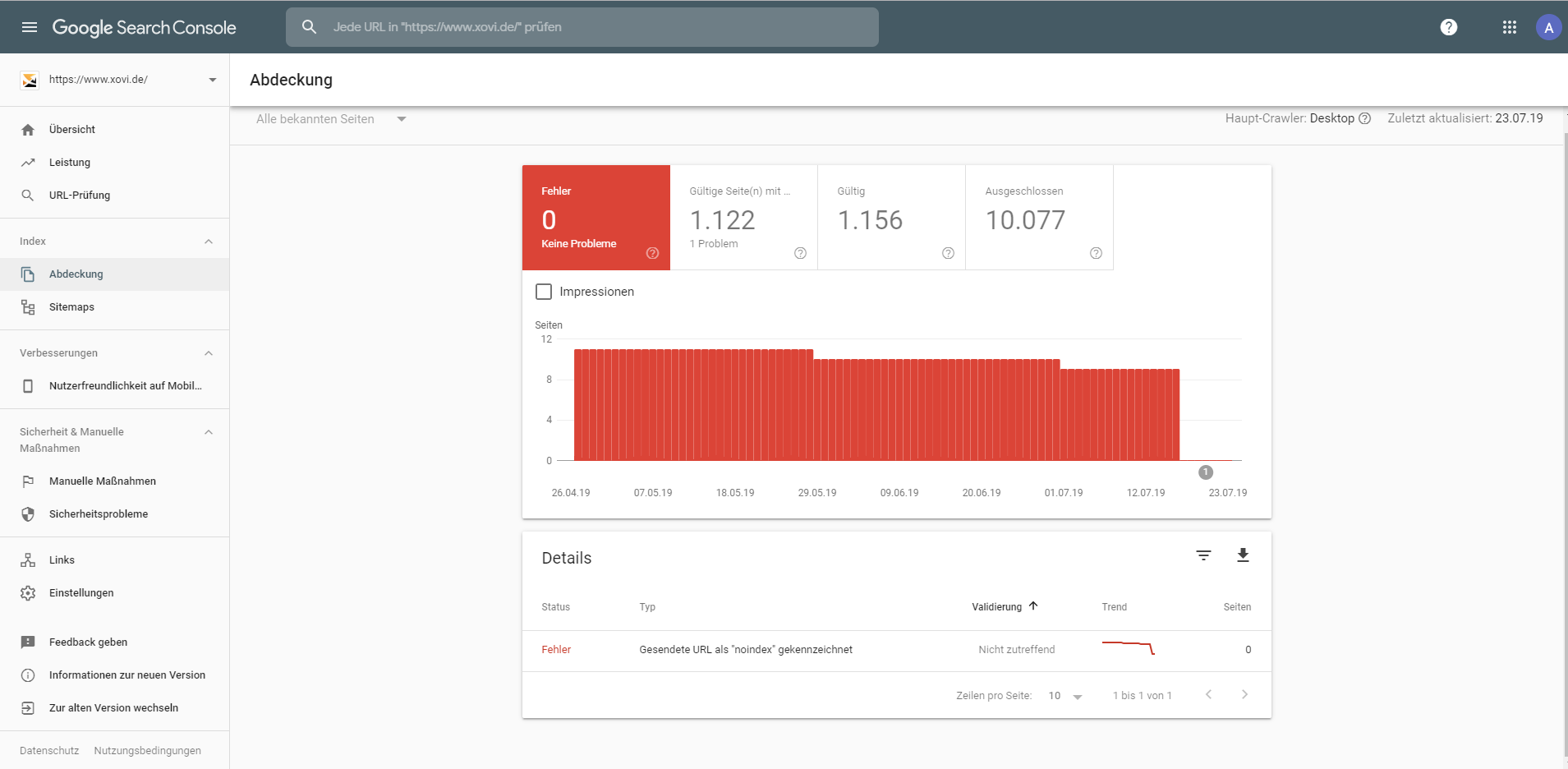 Report Crawling-Fehler inkl HTTP Stauscodes Google Search Console