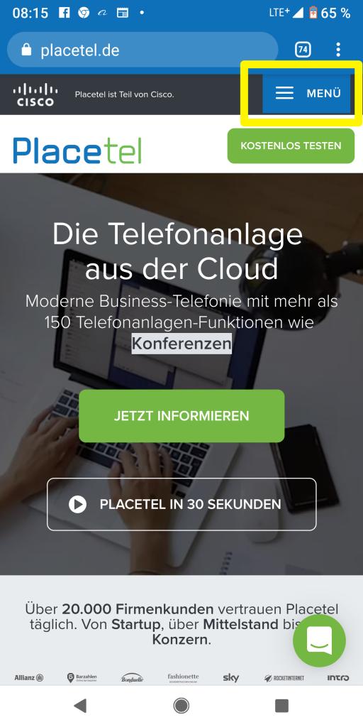 Ein Screenshot der Placetel Startseite auf einem Smartphone