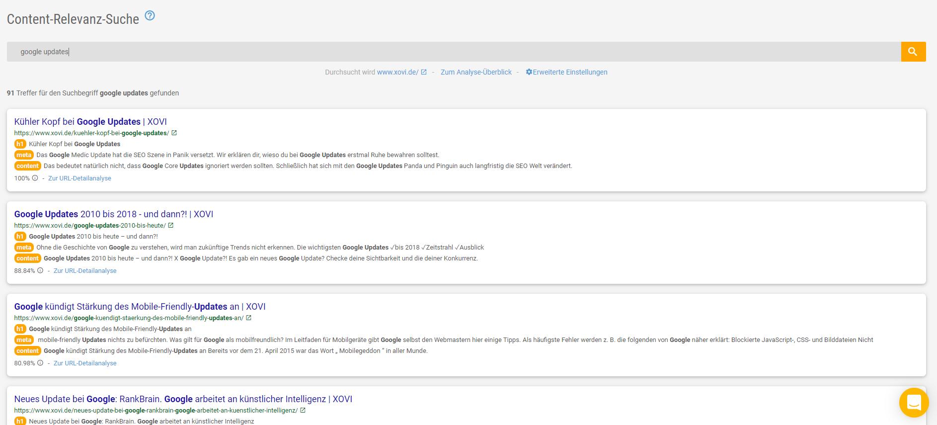 Die Content-Relevanz-Suche zeigt dir deine relevantesten Seiten zu einem Keyword.